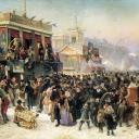 Константин Маковский. Народное гулянье во время масленицы на Адмиралтейской площади в Петербурге. 1869 год
