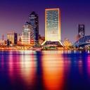 Ночные здания на побережье, Тампа, Флорида
